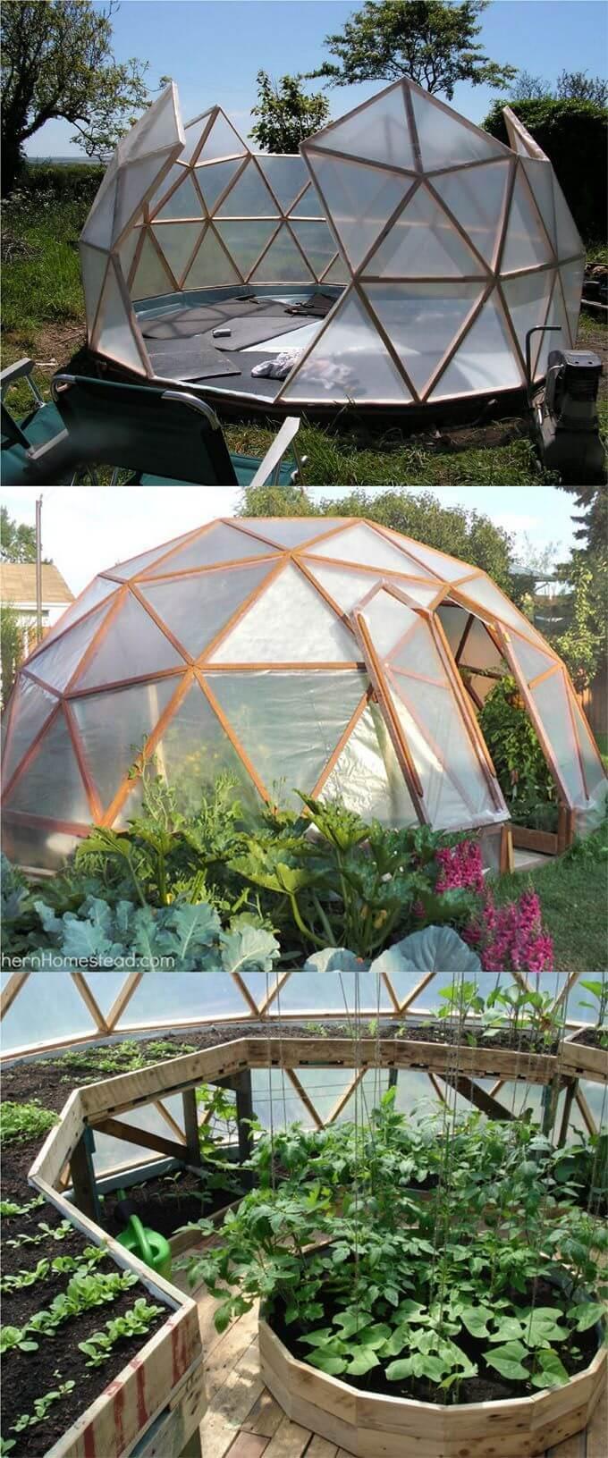 An Igloo-Inspired Walk-in Garden Green House
