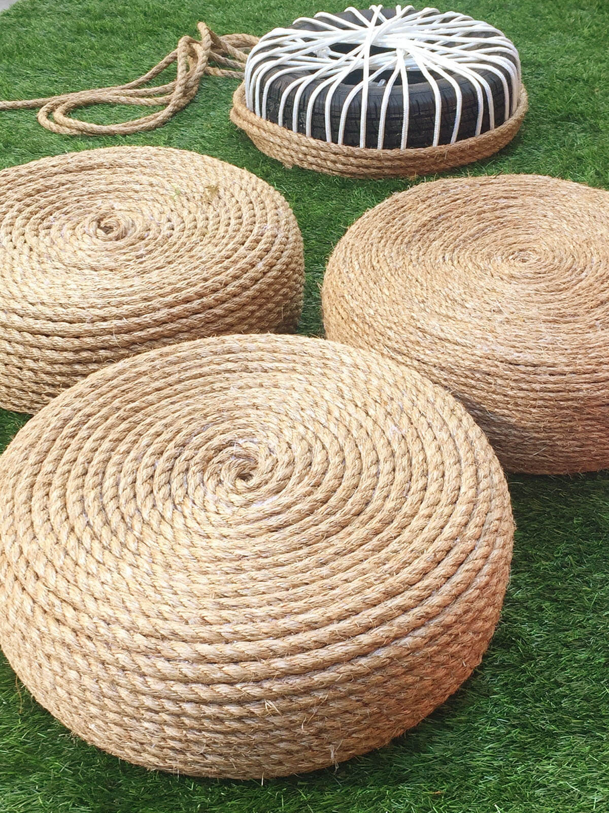 Spiral Rope Tire Seating for the Outdoors