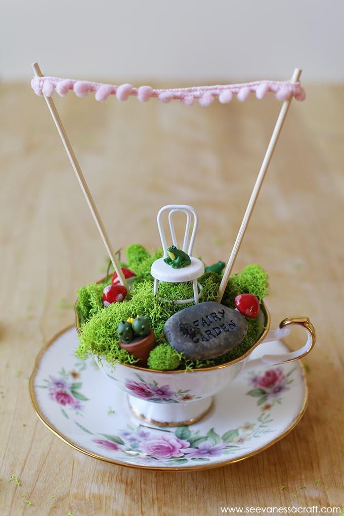 Dainty Teacup Fairy Garden with Saucer