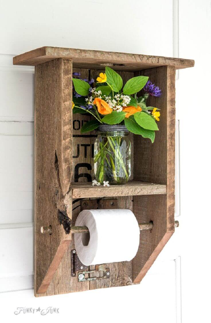 Outhouse Style Pallet Toilet Paper Holder