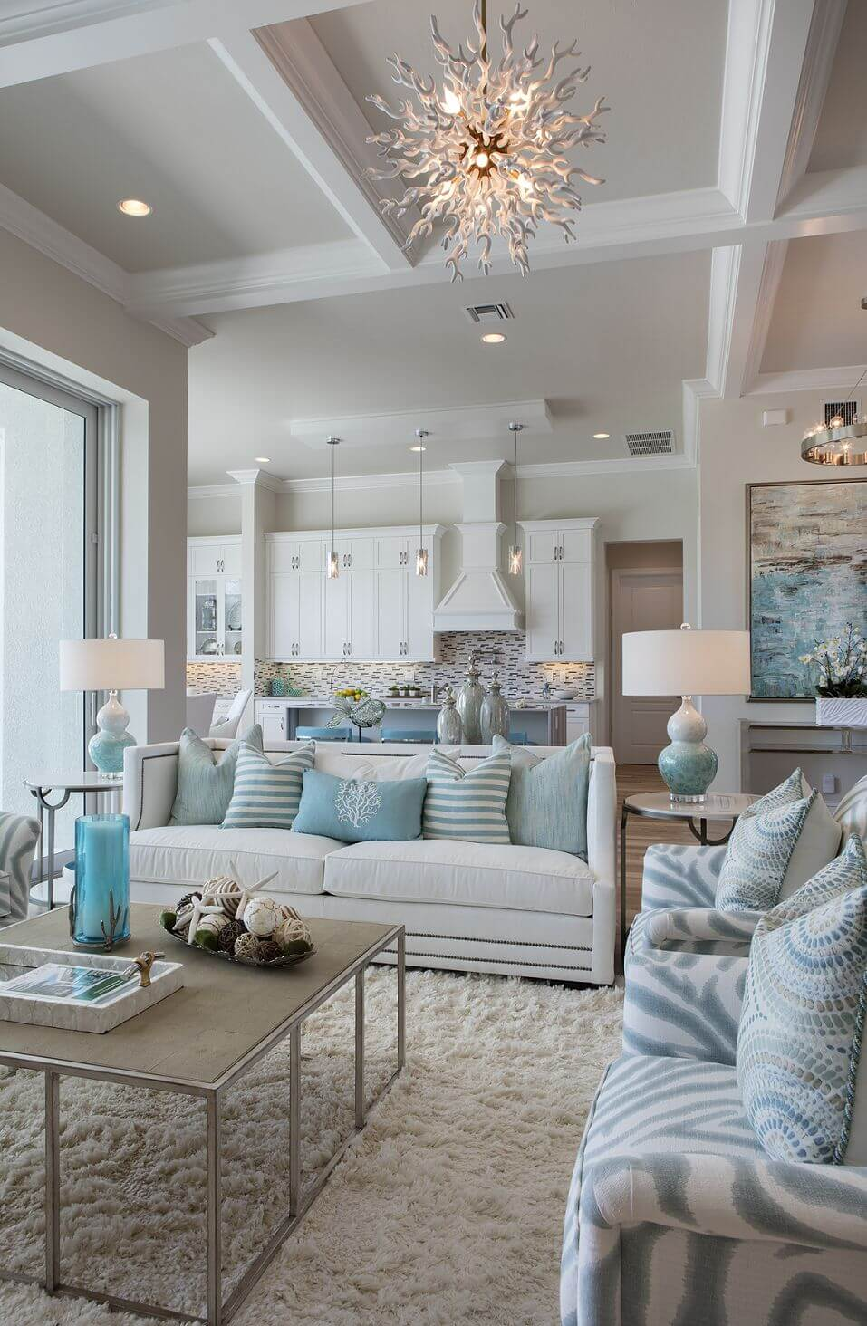 Beach Inspired Living Space with Coral Lighting