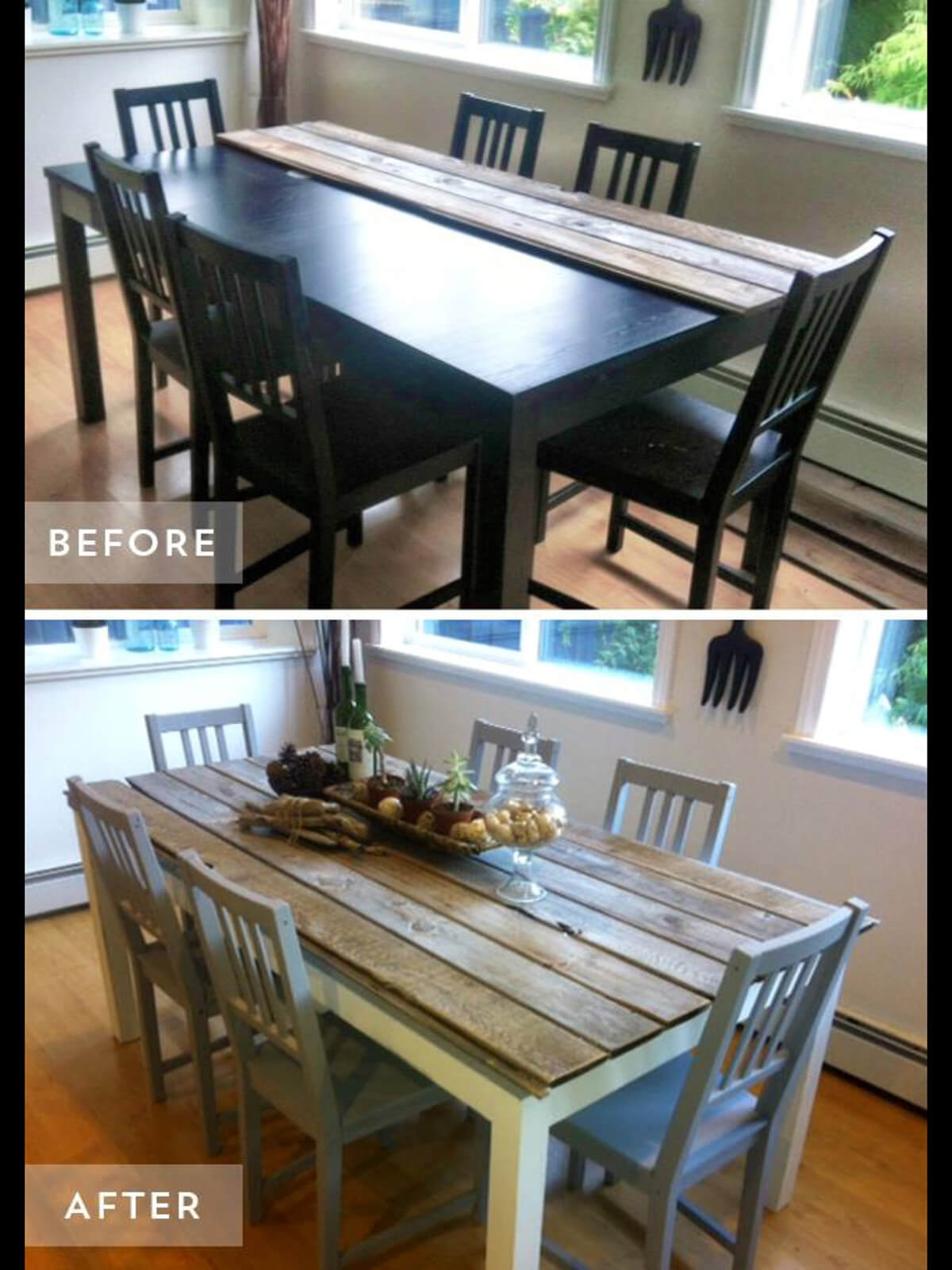 Repaneled Farmhouse Chic Dining Table