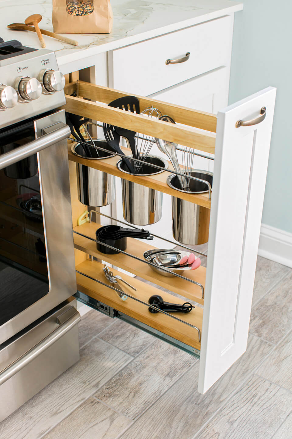 6 utensil drawers in unused cabinet space - Kitchen Organization Ideas