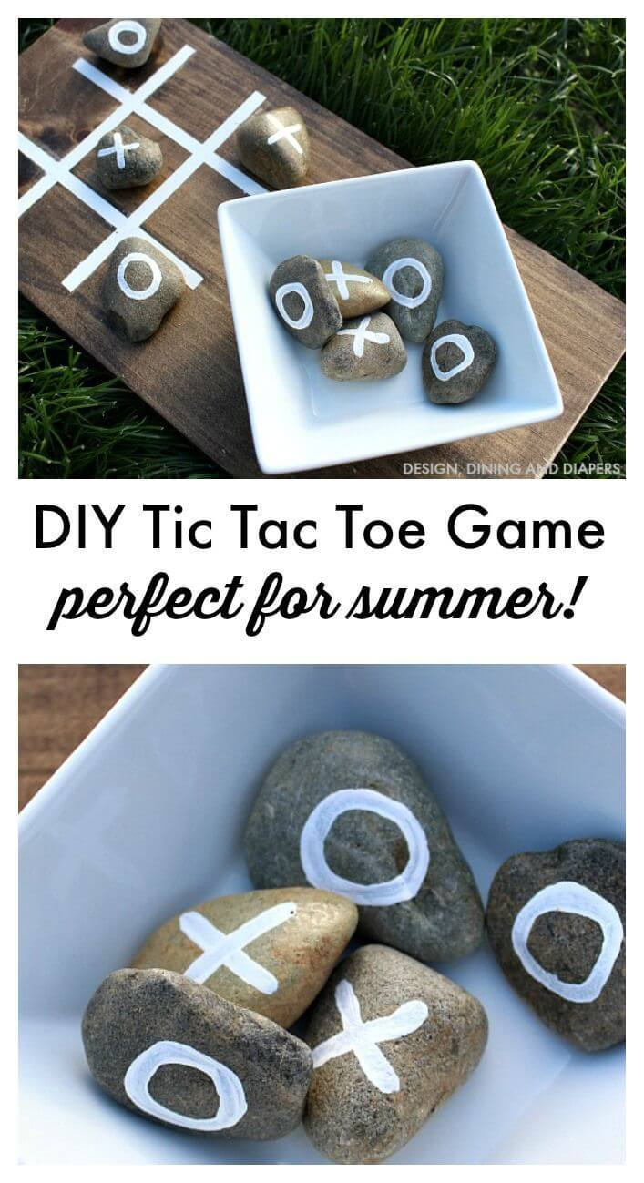 Rustic Stone and Wood Tic-Tac-Toe Board