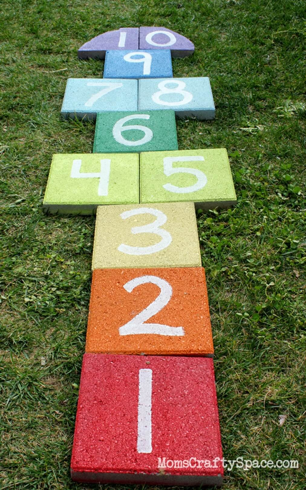 A Rainbow Colored Hop Scotch Mat