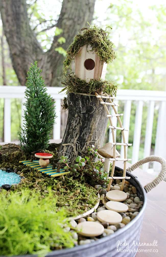 Poolside Fairy Garden with Mossy Cabana