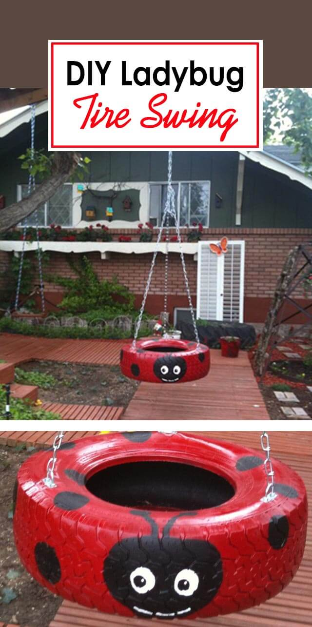 A Ladybug Tire Swing with a Smile