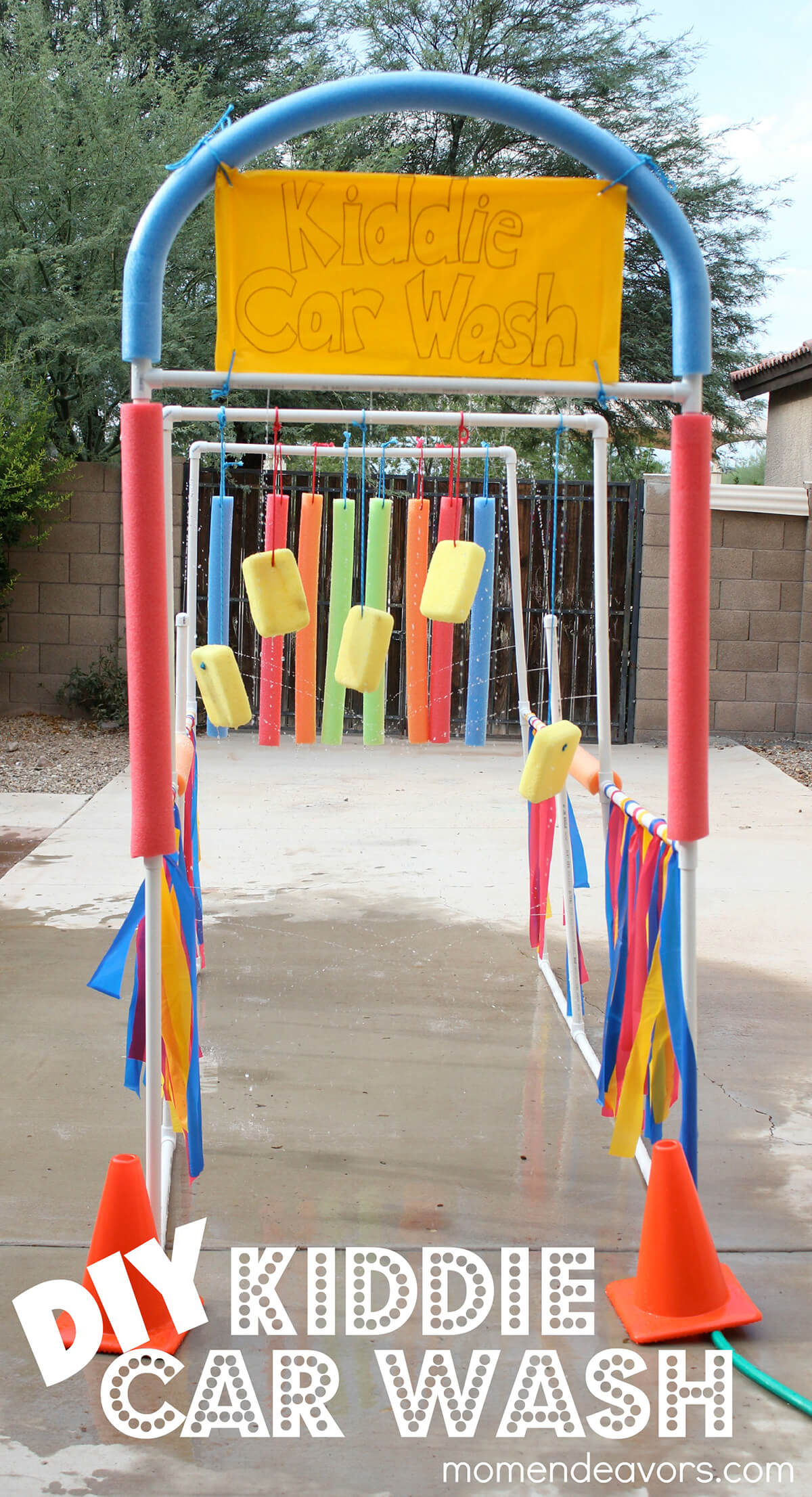 Super-Soaking Kiddie Carwash Sprinkler Setup