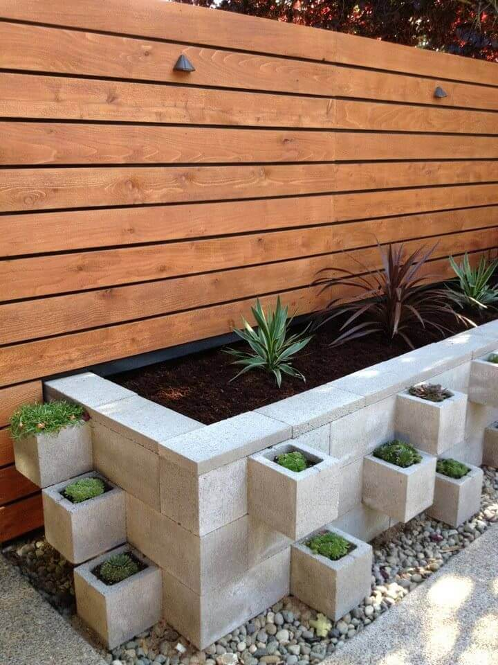 Peaceful And Pristine Cinder Block Garden Bed