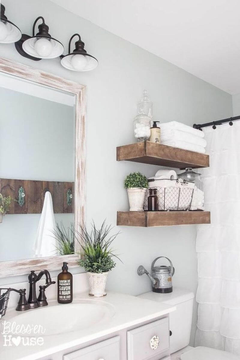 A Rustic Bathroom Mirror and Shelf Design