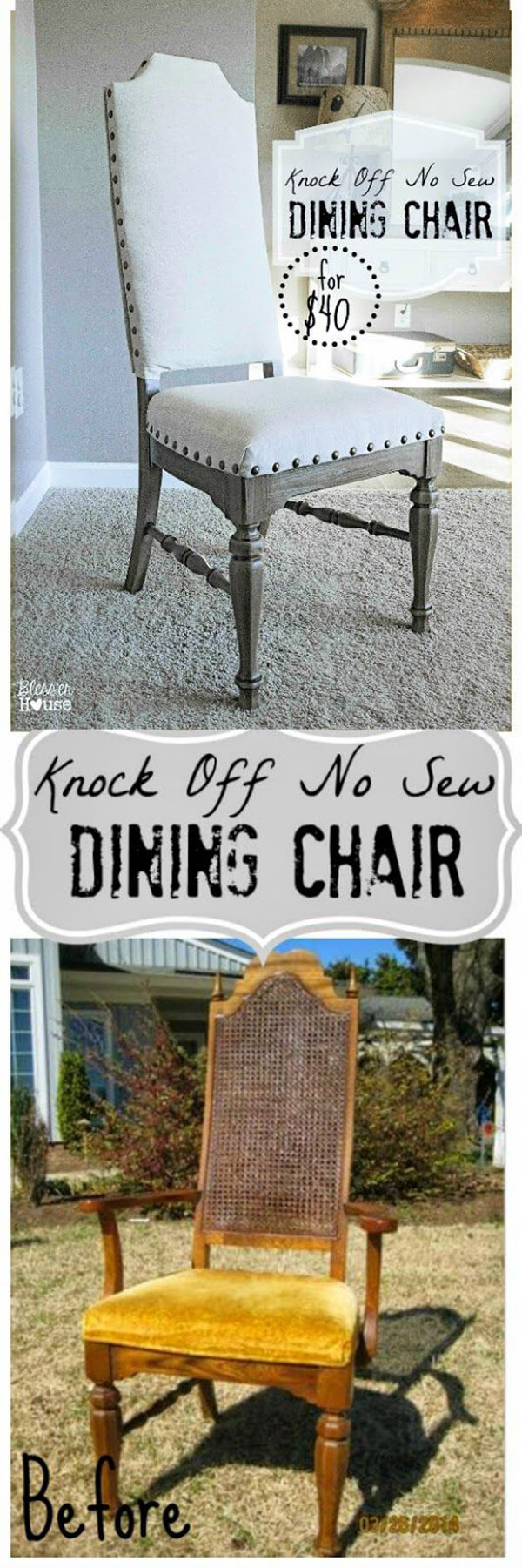 No-Sew Refashioned Dining Chair
