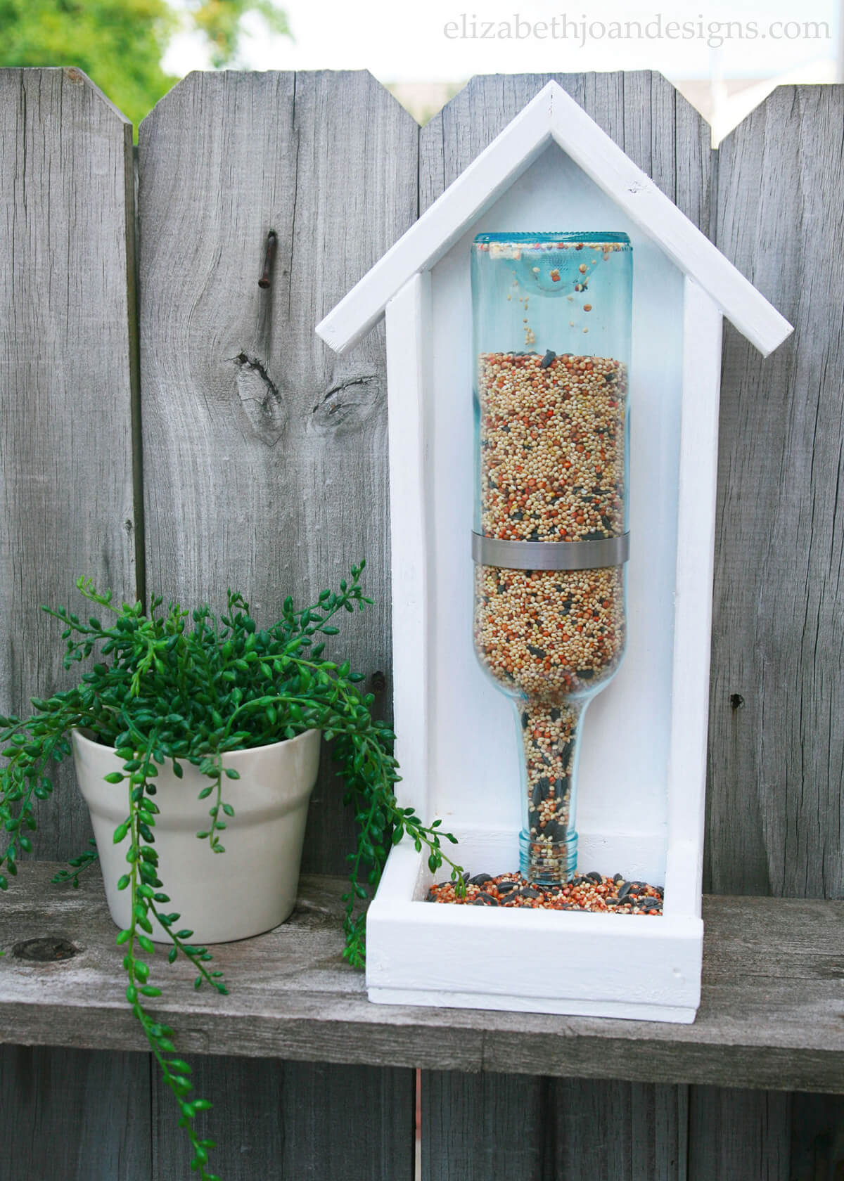 Recycled Glass Bottle Bird Feeder