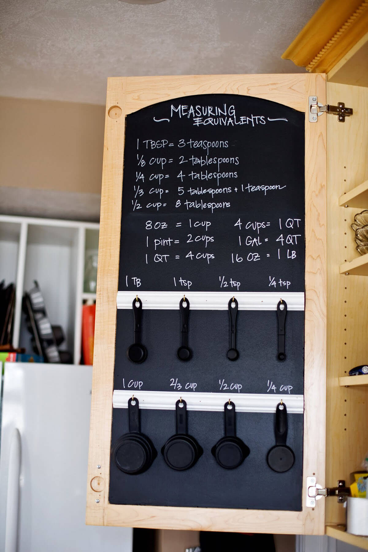Cabinet Door Chalkboard with Measuring Utensils