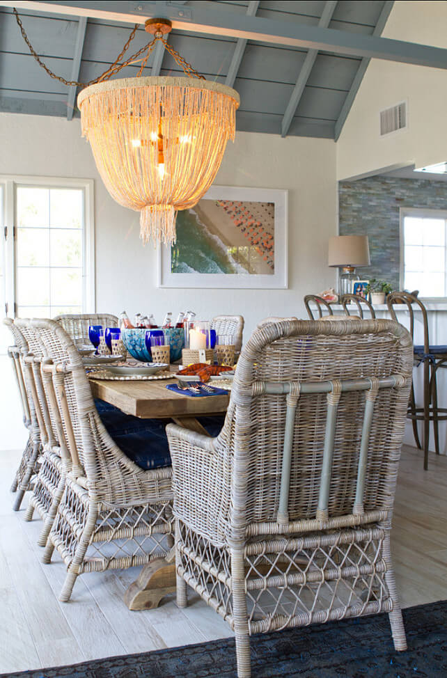 Beach-Inspired Dining Area with Seaweed Lighting
