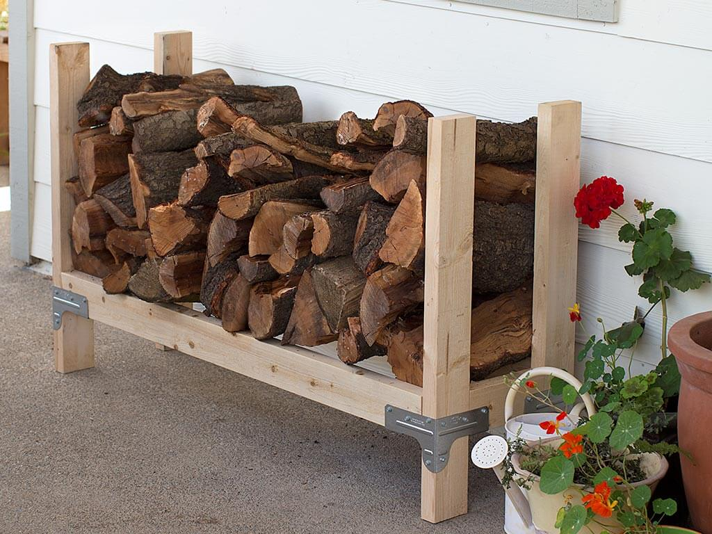 Natural Wood DIY Outdoor Firewood Rack Ideas