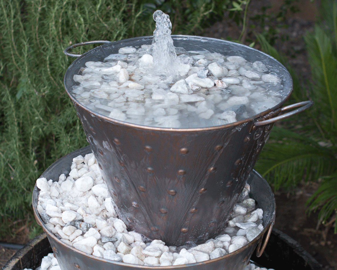 DIY Metal Bucket Water Feature