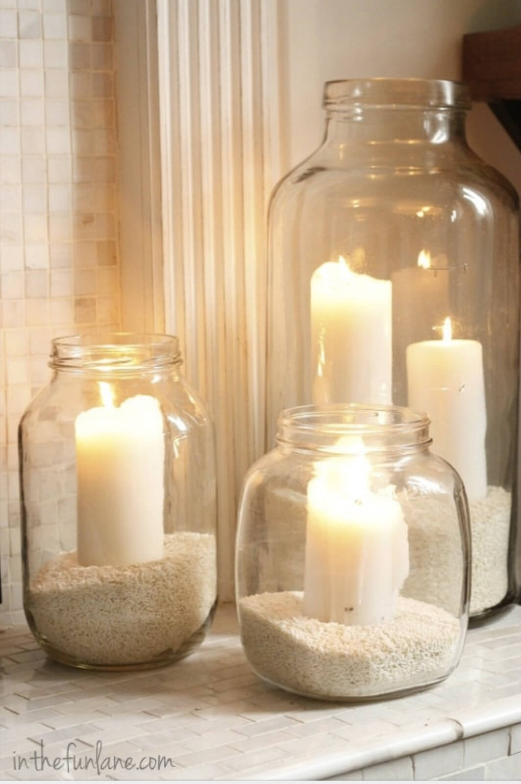Sand-filled Jars Make Perfect Candle Holders