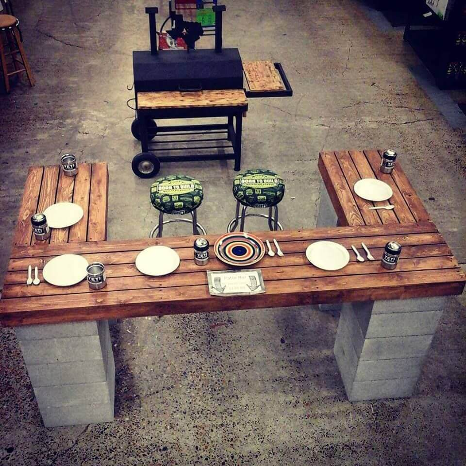 Chef Style Outdoor Patio Table with Cinder Blocks