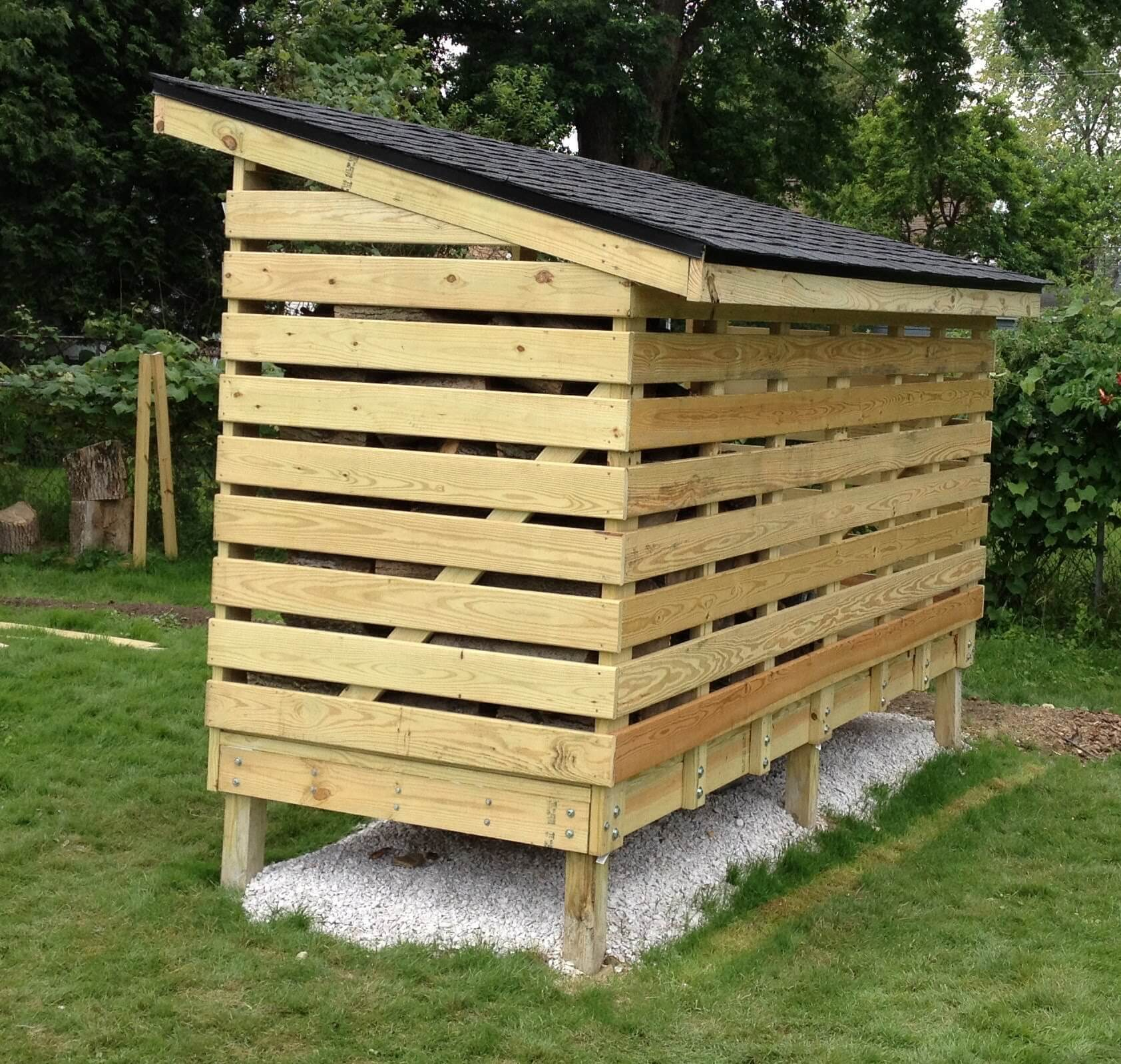 A Firewood Rack Protected From The Rain