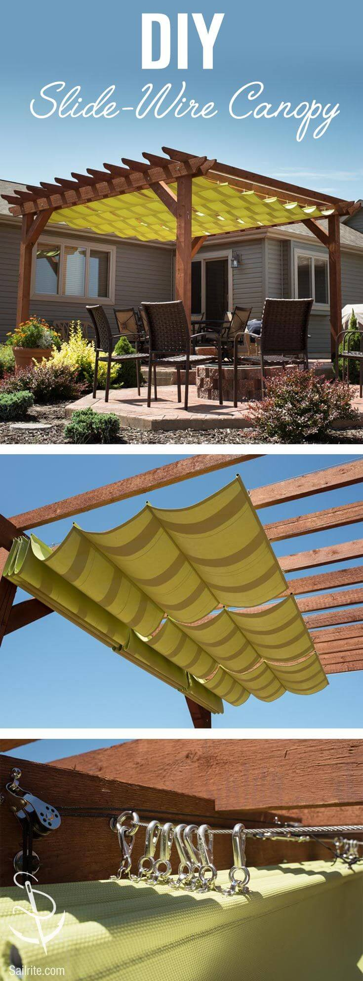 Backyard Pergola with Sliding Shade Canopy