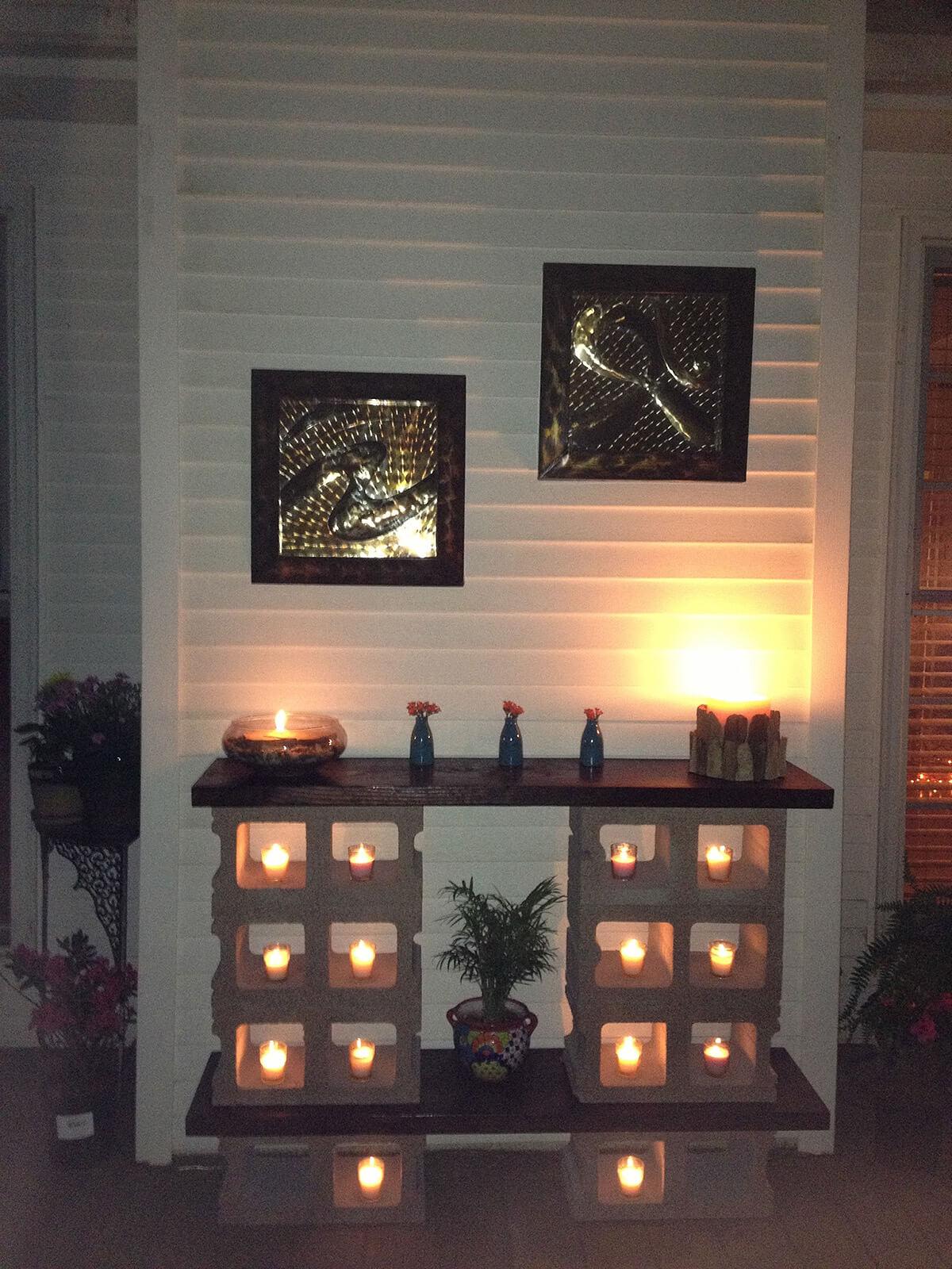 Cinder Block Luminary 'Fireplace'