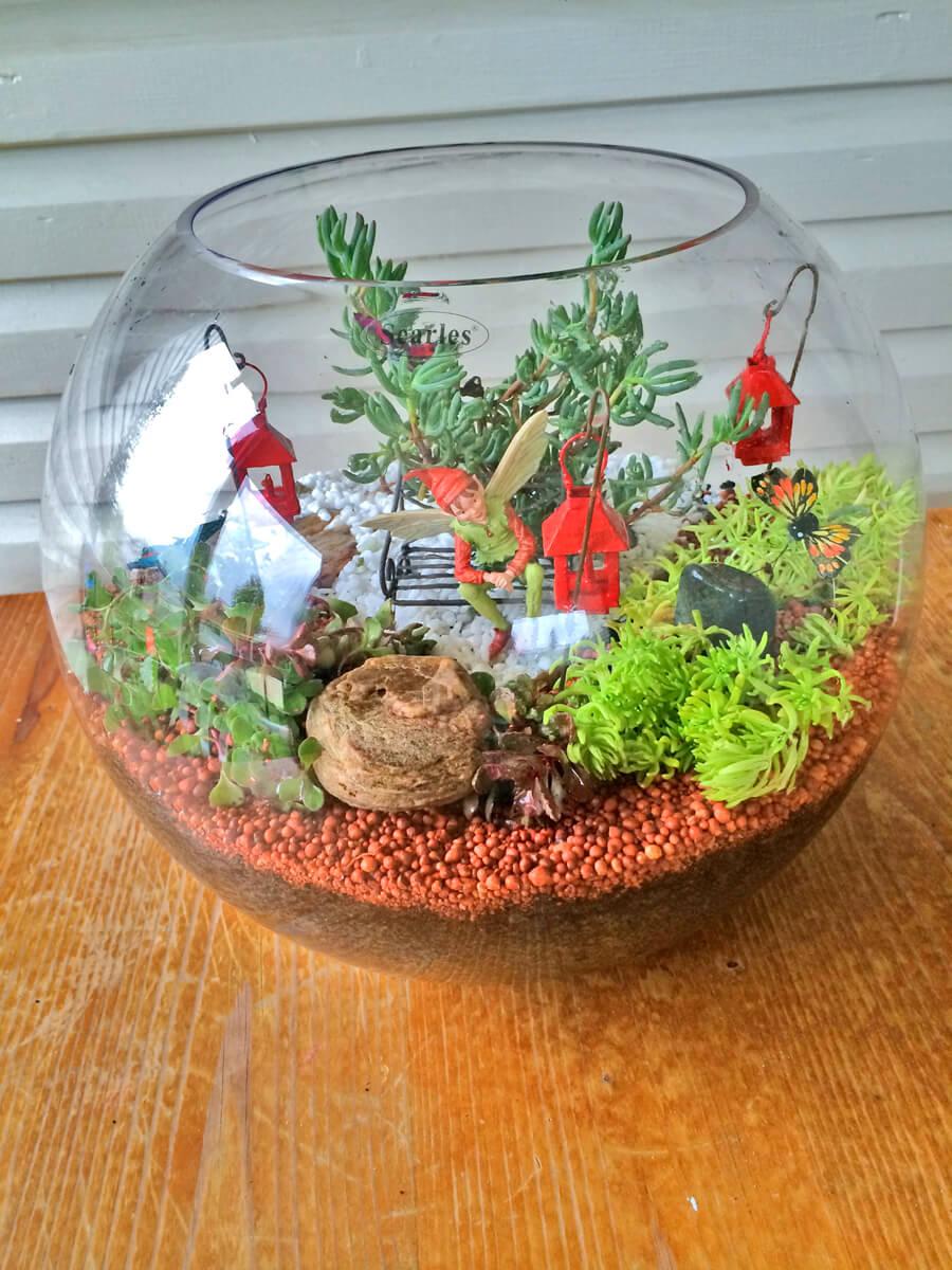 Glass Fishbowl Fairy Garden Terrarium