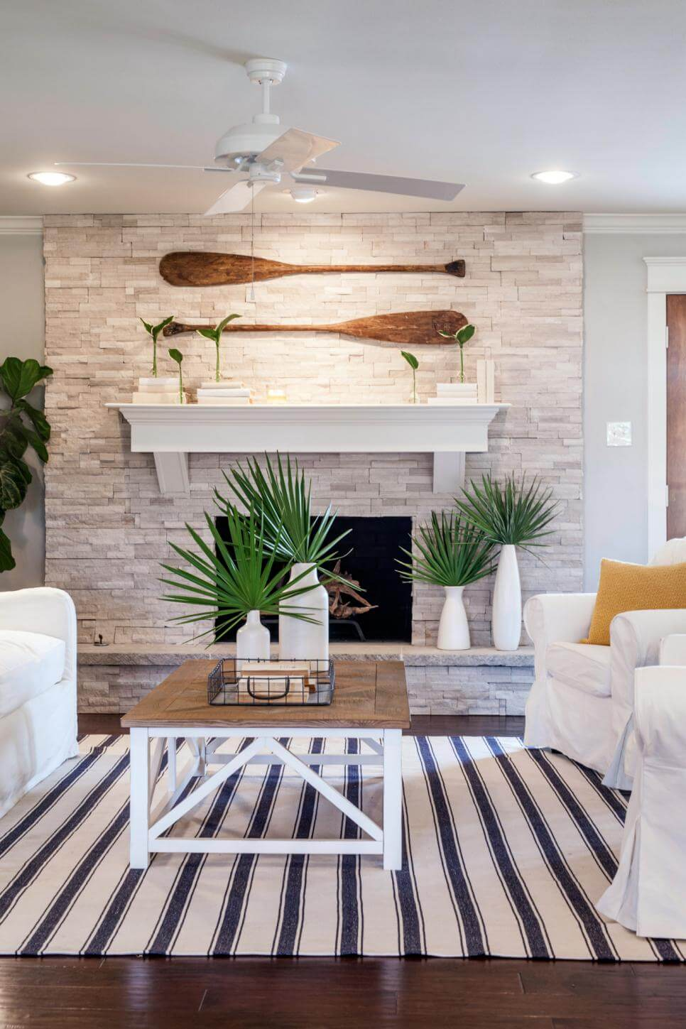 Palms in Front of a Cozy Fireplace
