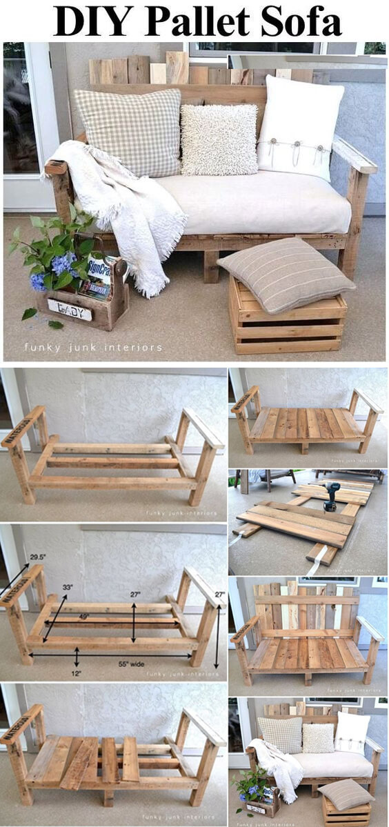29 best diy outdoor furniture projects ideas and designs - Sofas palets exterior ...