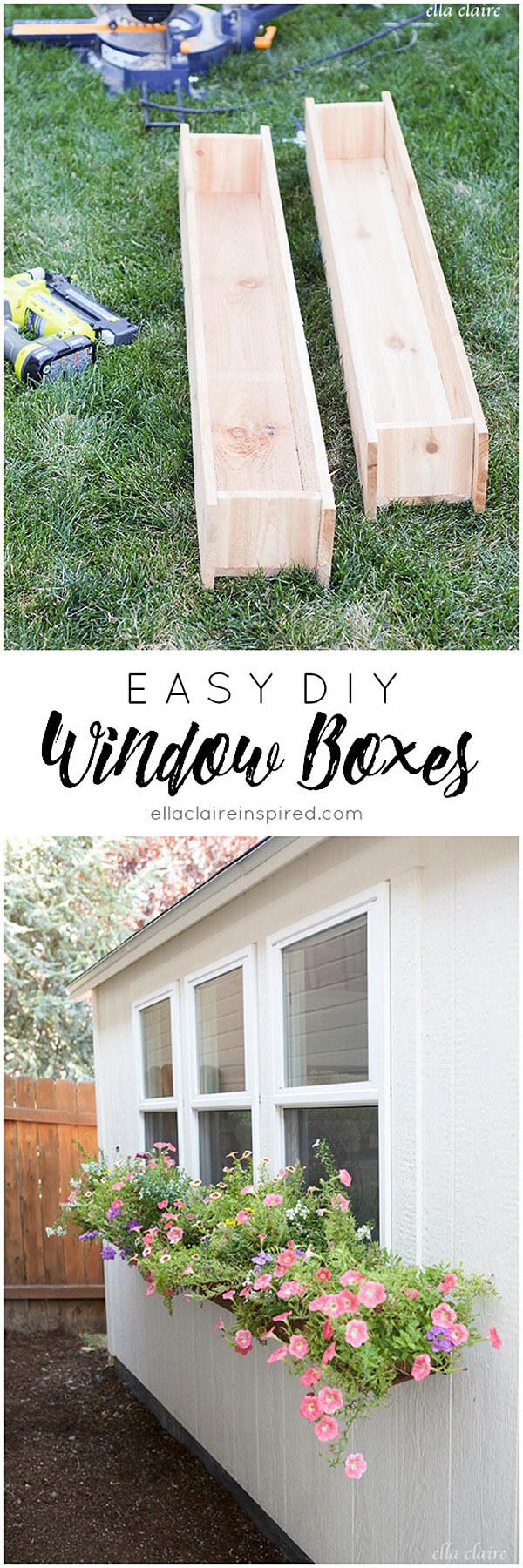 Easy DIY Wooden Window Boxes