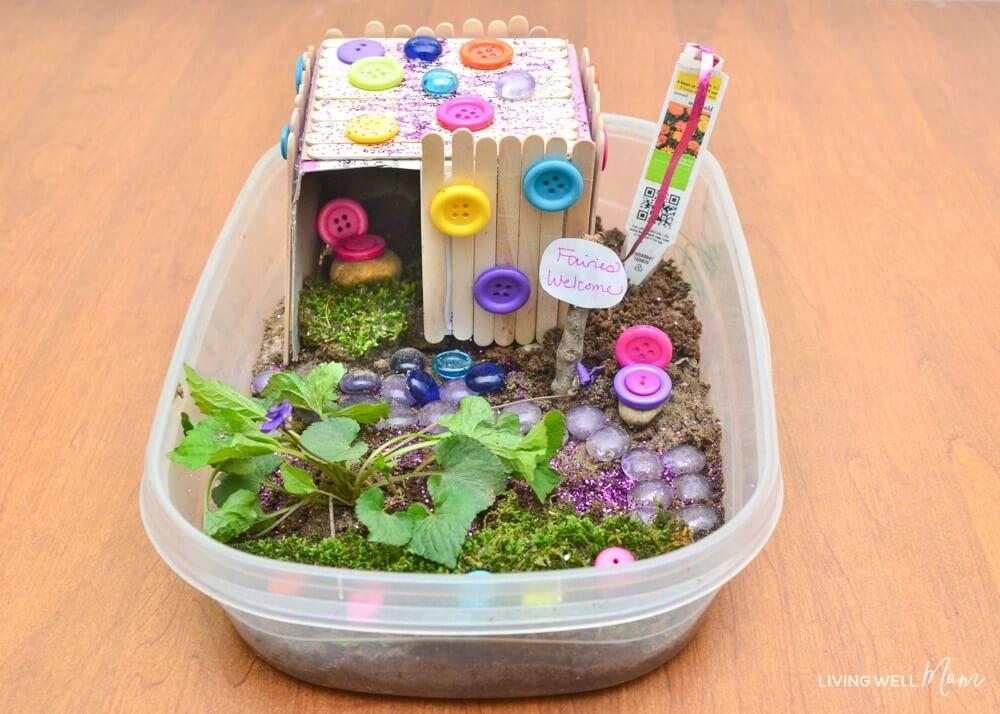 Children's Tupperware Fairy Garden Cabin