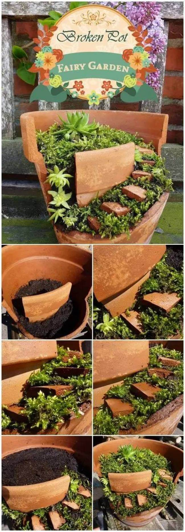 Repurposed Potted Fairy Garden
