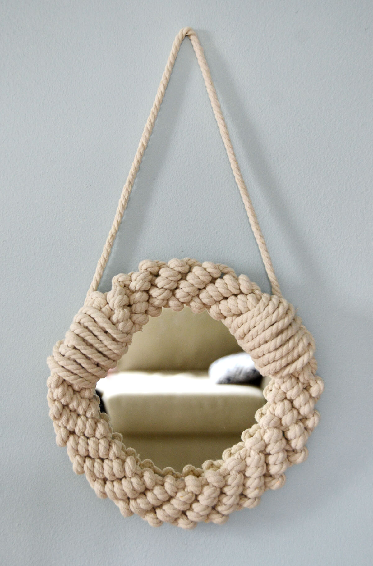 A Small Porthole Mirror Knitted with Rope