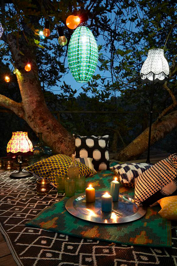 Pair Ethnic Fabrics with Soft Lantern Lighting