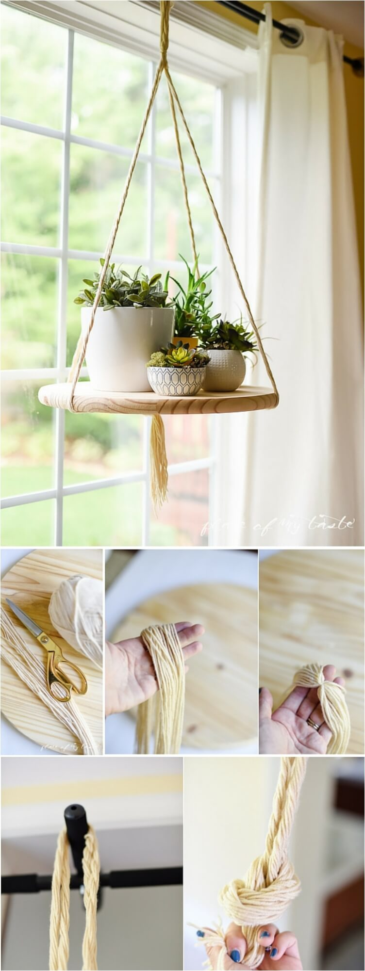 A Rope Hanging Shelf Idea for Plants