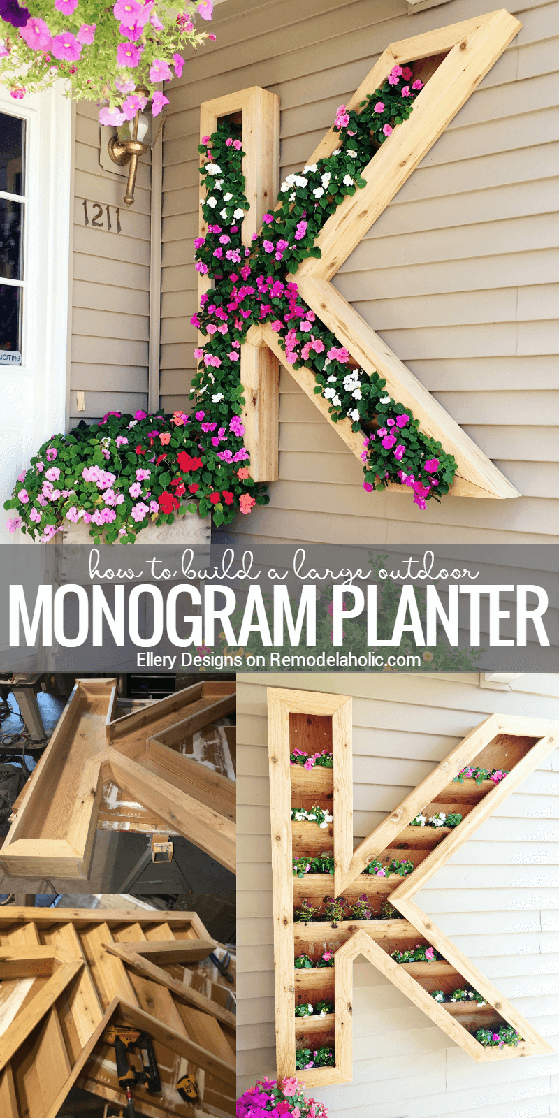Personalized Hanging Wooden Monogram Planter