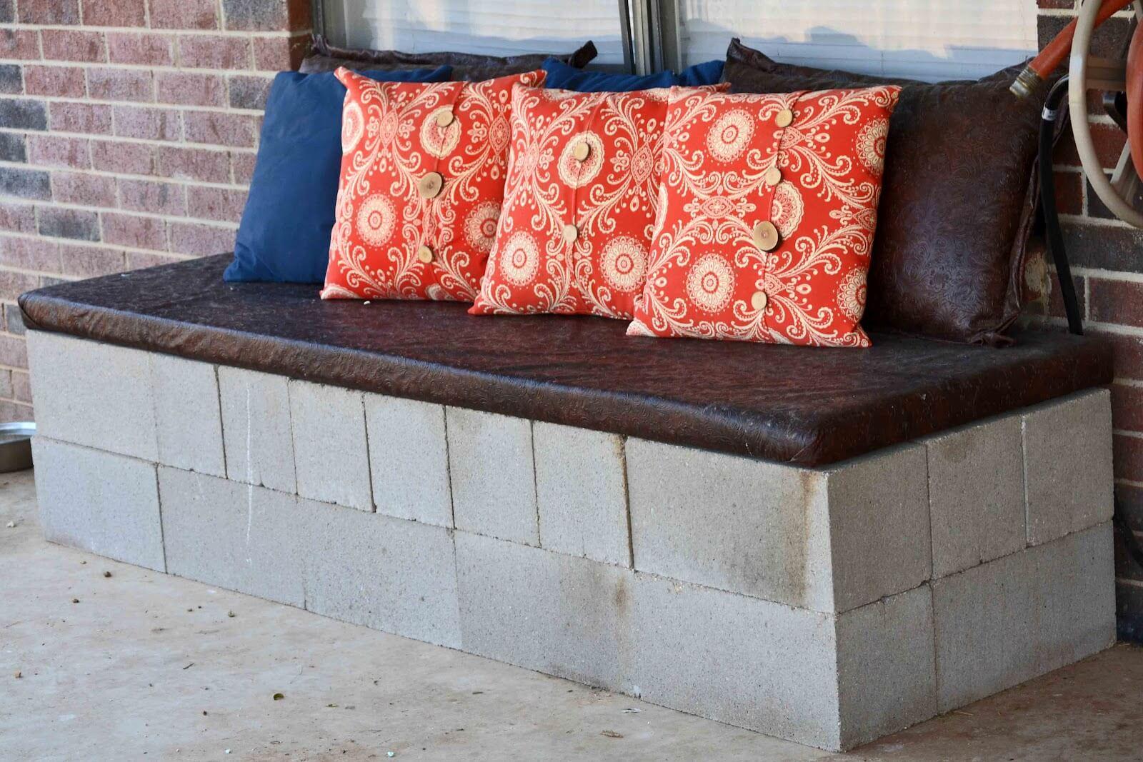 Outdoor Cinder Block 'Sofa'