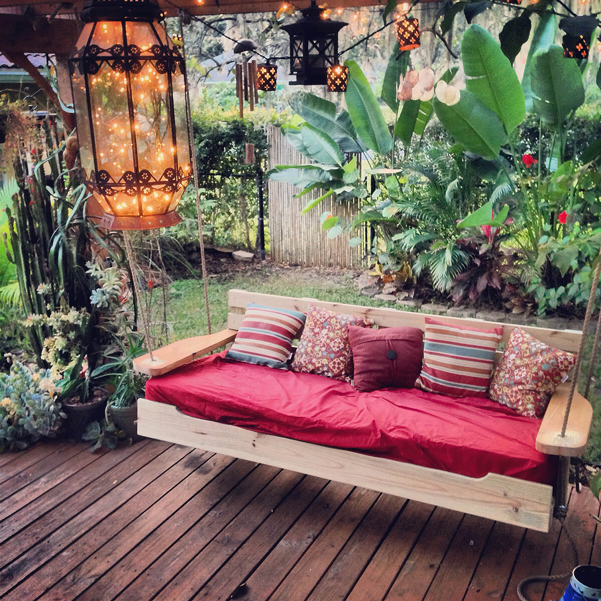 Hanging Bench One Day Backyard Project Ideas