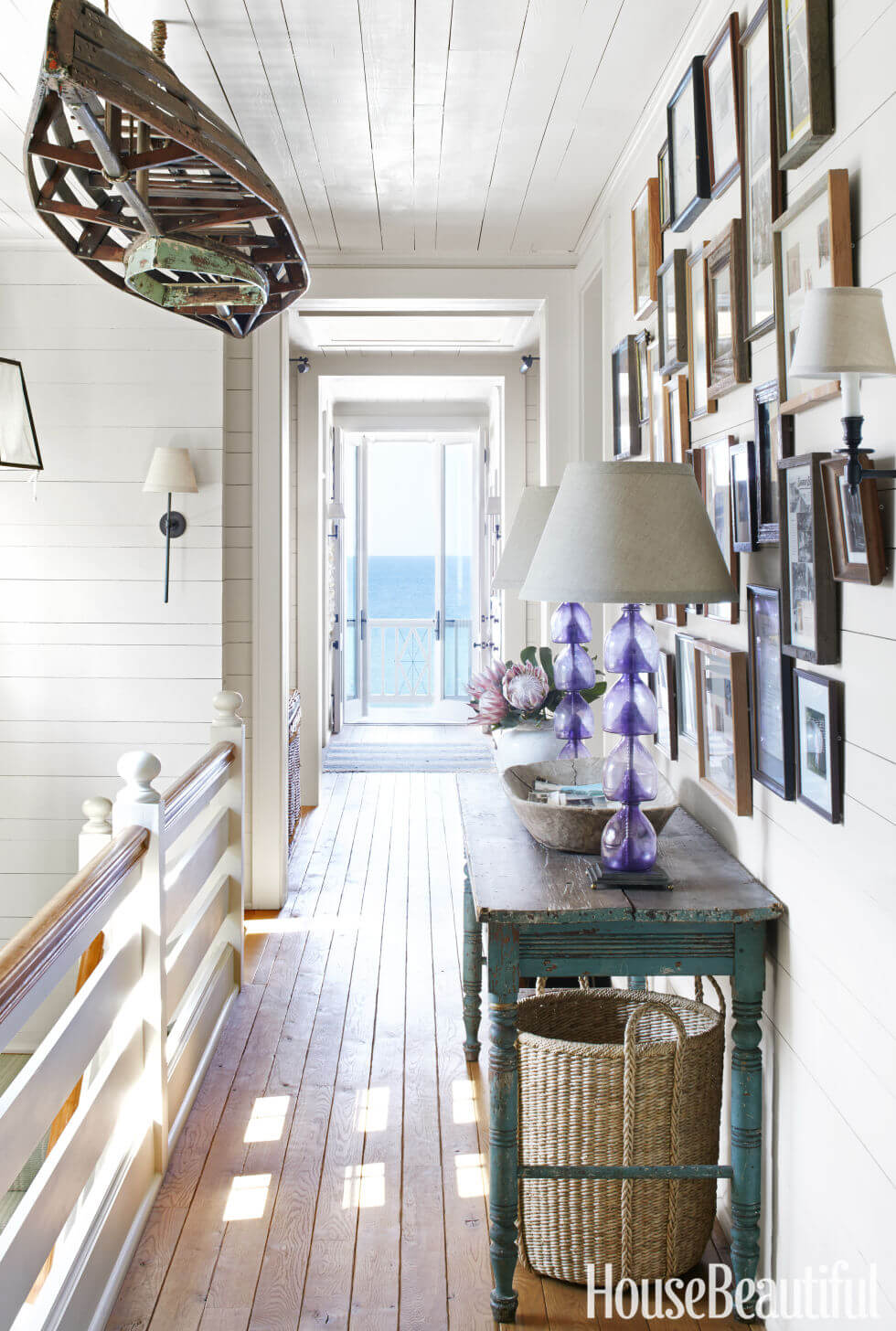 A Boardwalk-Inspired Hallway to a Balcony