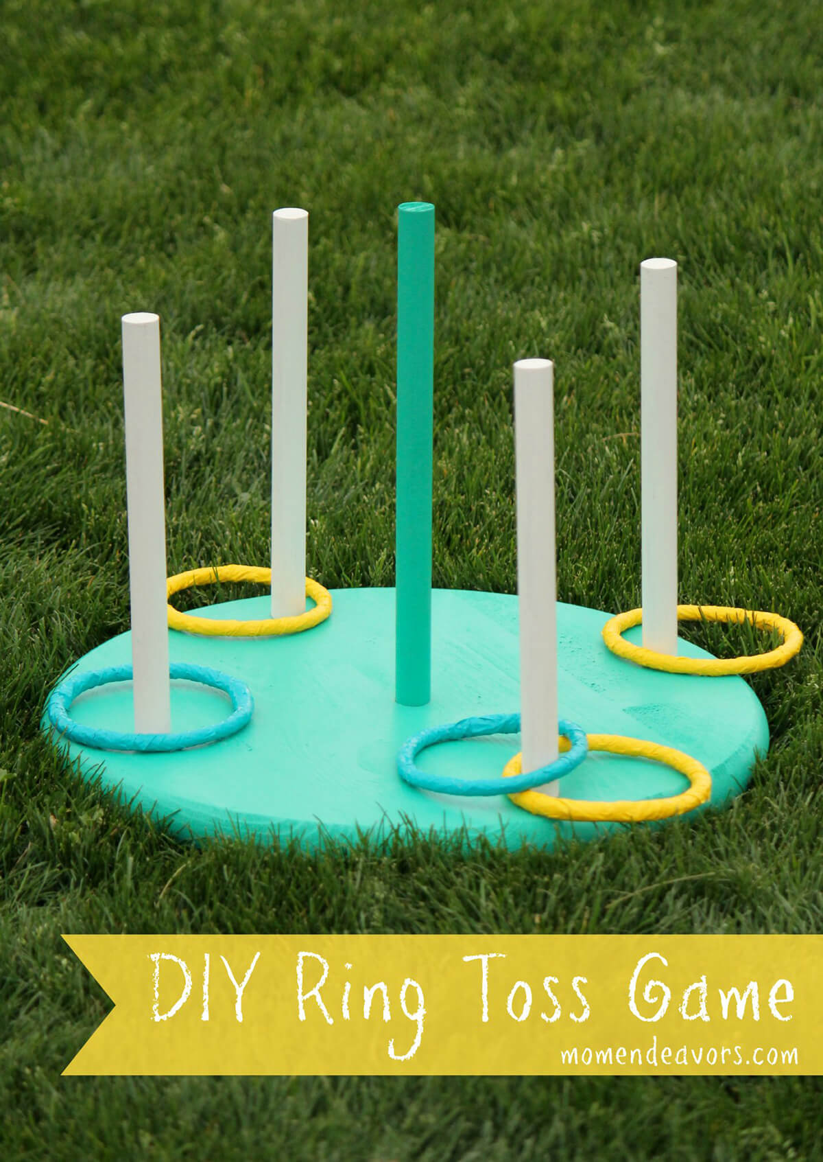 18 A Green And Yellow Ring Toss Game