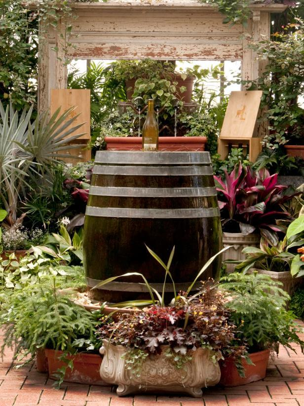 Vineyard Inspired Barrel Fountain