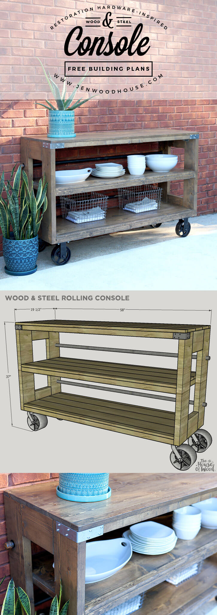Rustic Wood and Steel Rolling Console