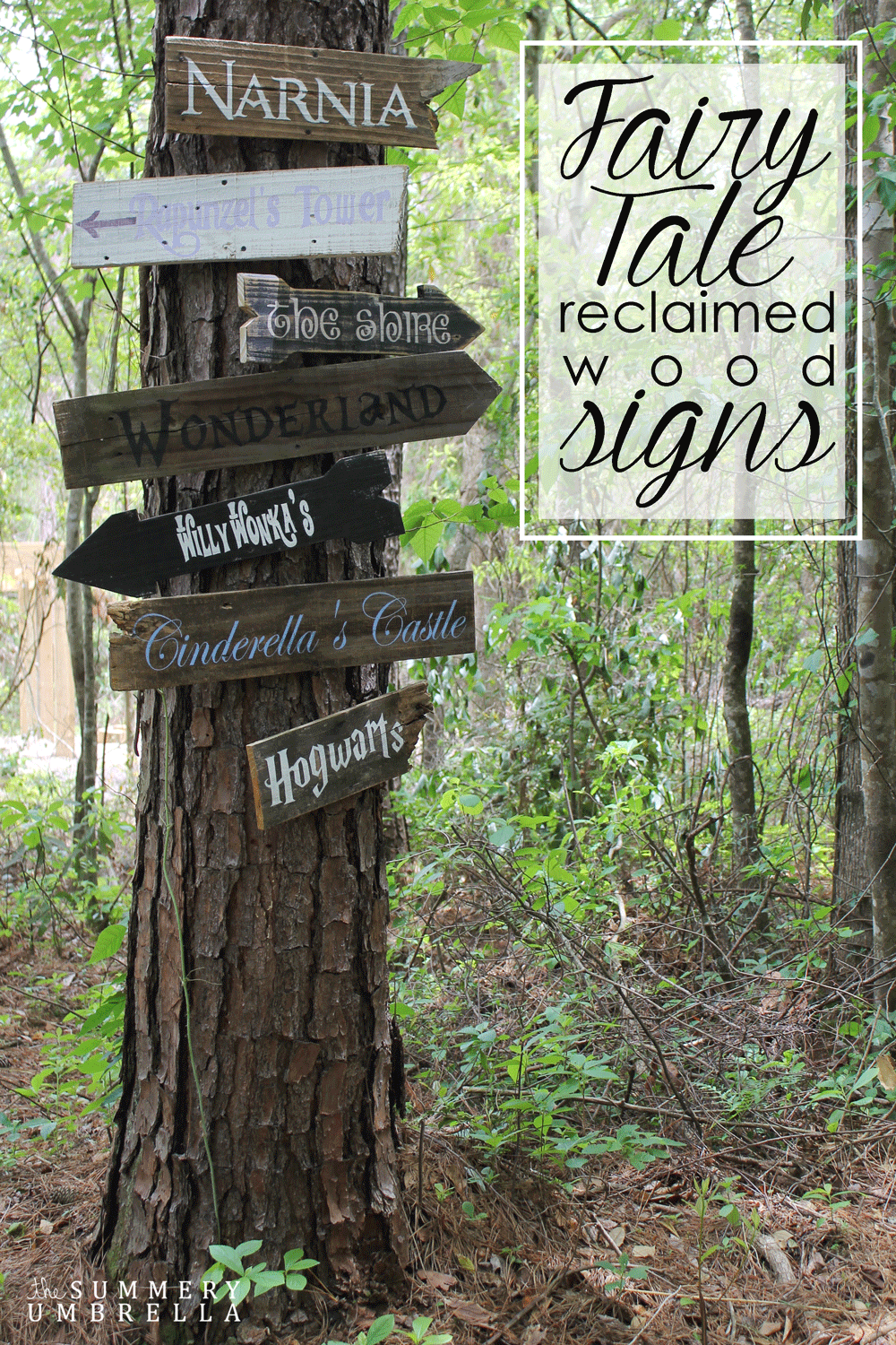 Wooden Signs Pointing to Favorite Childhood Locations