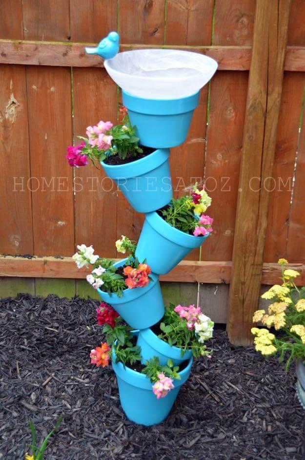 Stacked Terracotta Pot Flower Planter