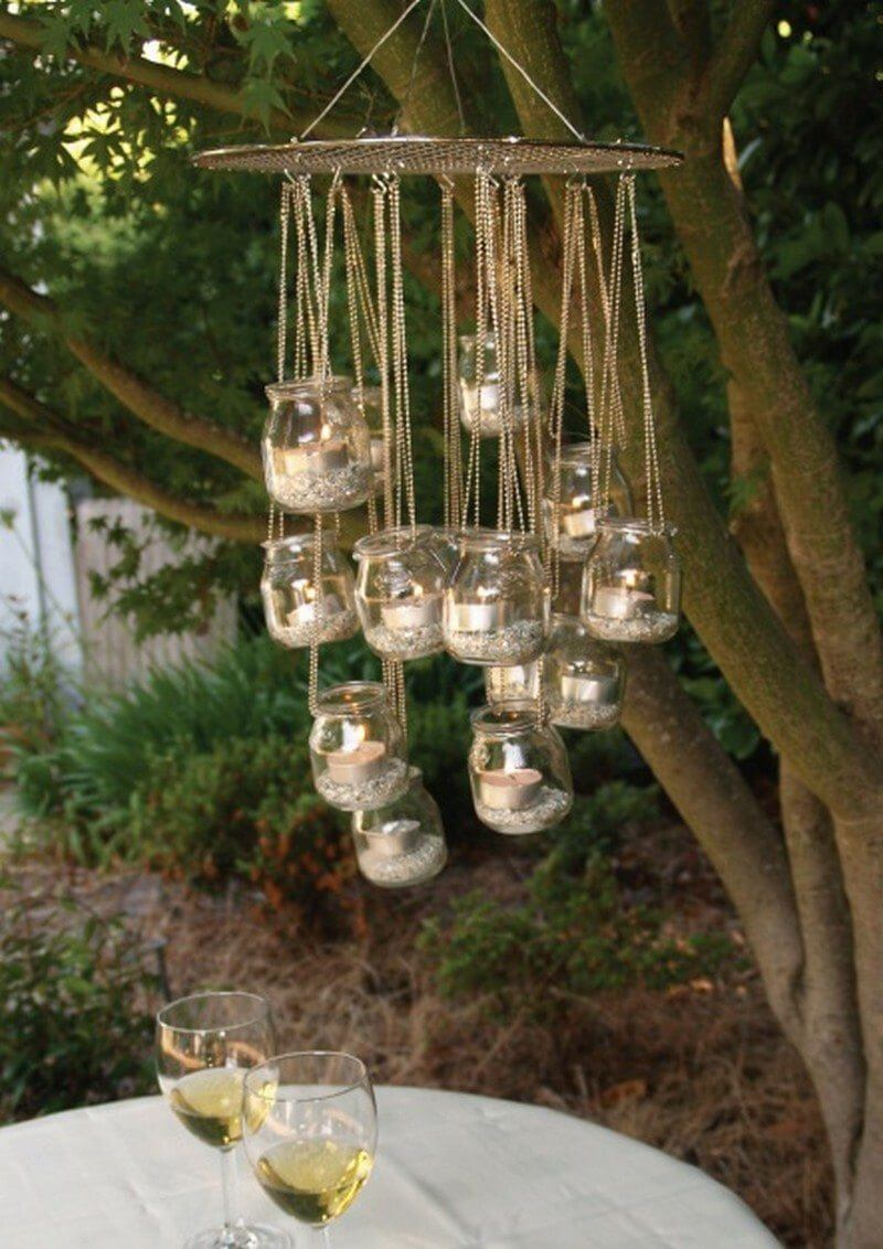 Mason Jar Candle Chandelier for a Lighting Statement