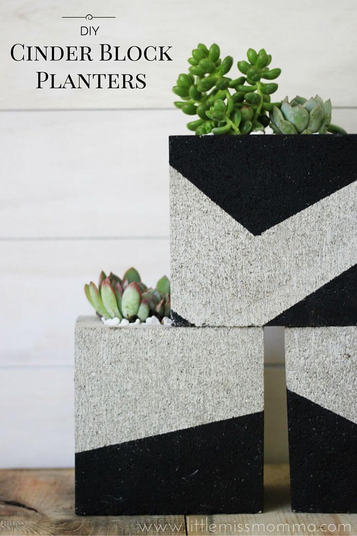 Modern Look Cinder Block Planter