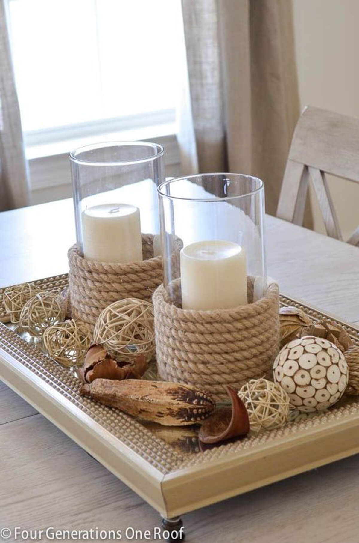 A Centerpiece Complete with Rope Candleholders