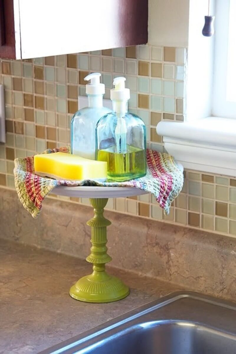 Dish Soap and Sponge on a Pedestal