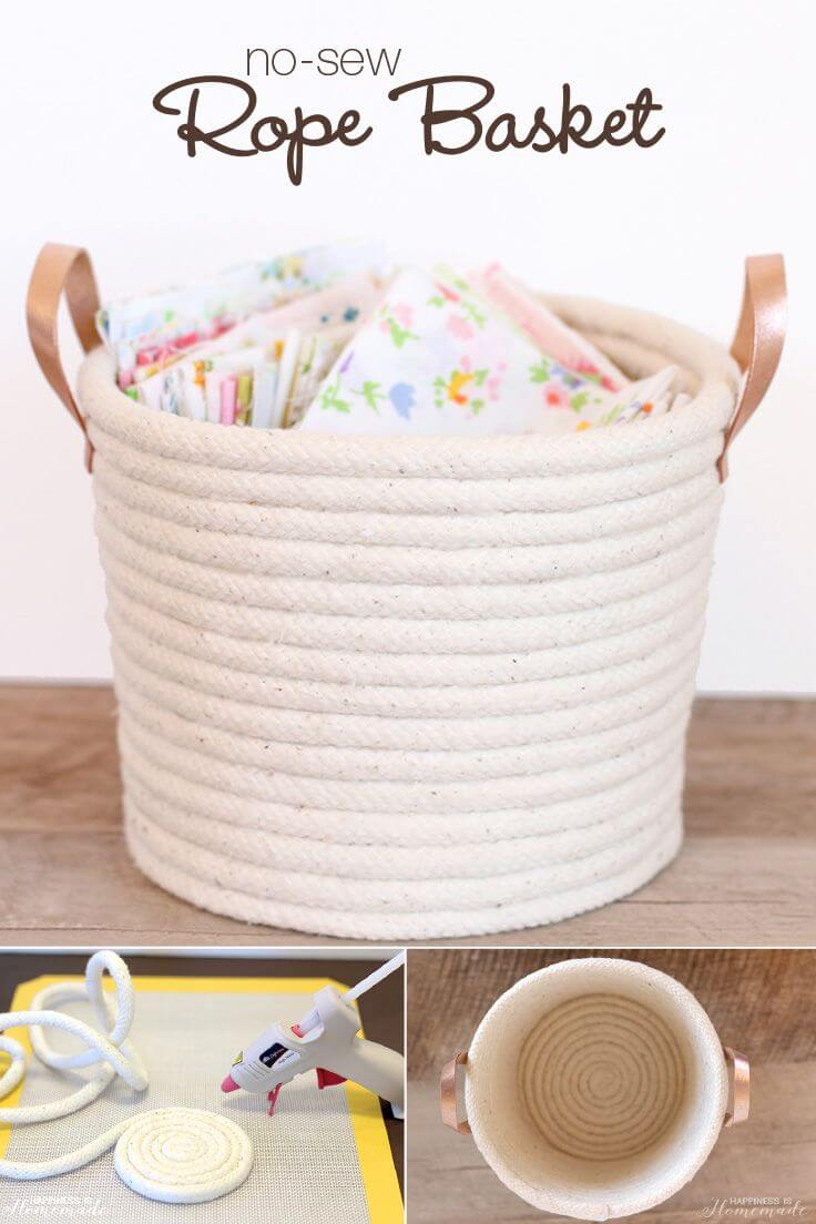 A Basket Crafted by Spiraling Rope Together