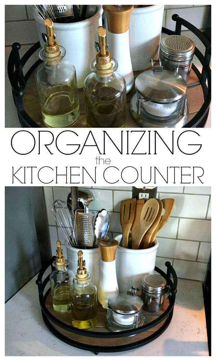 Everyday Kitchen Essentials on a Lazy Susan