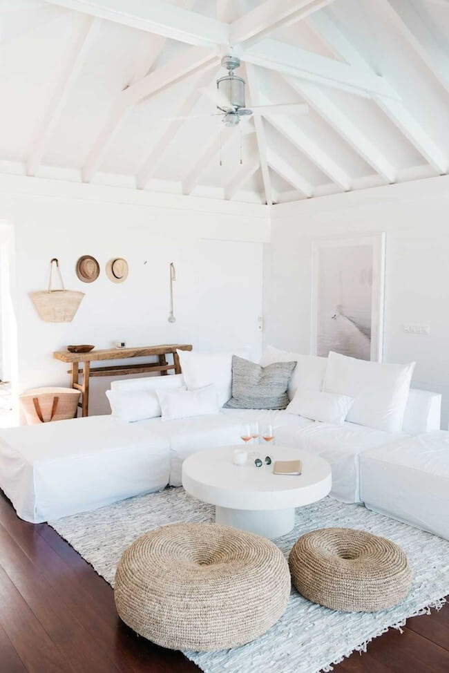 A White Living Space and Ceiling Fan